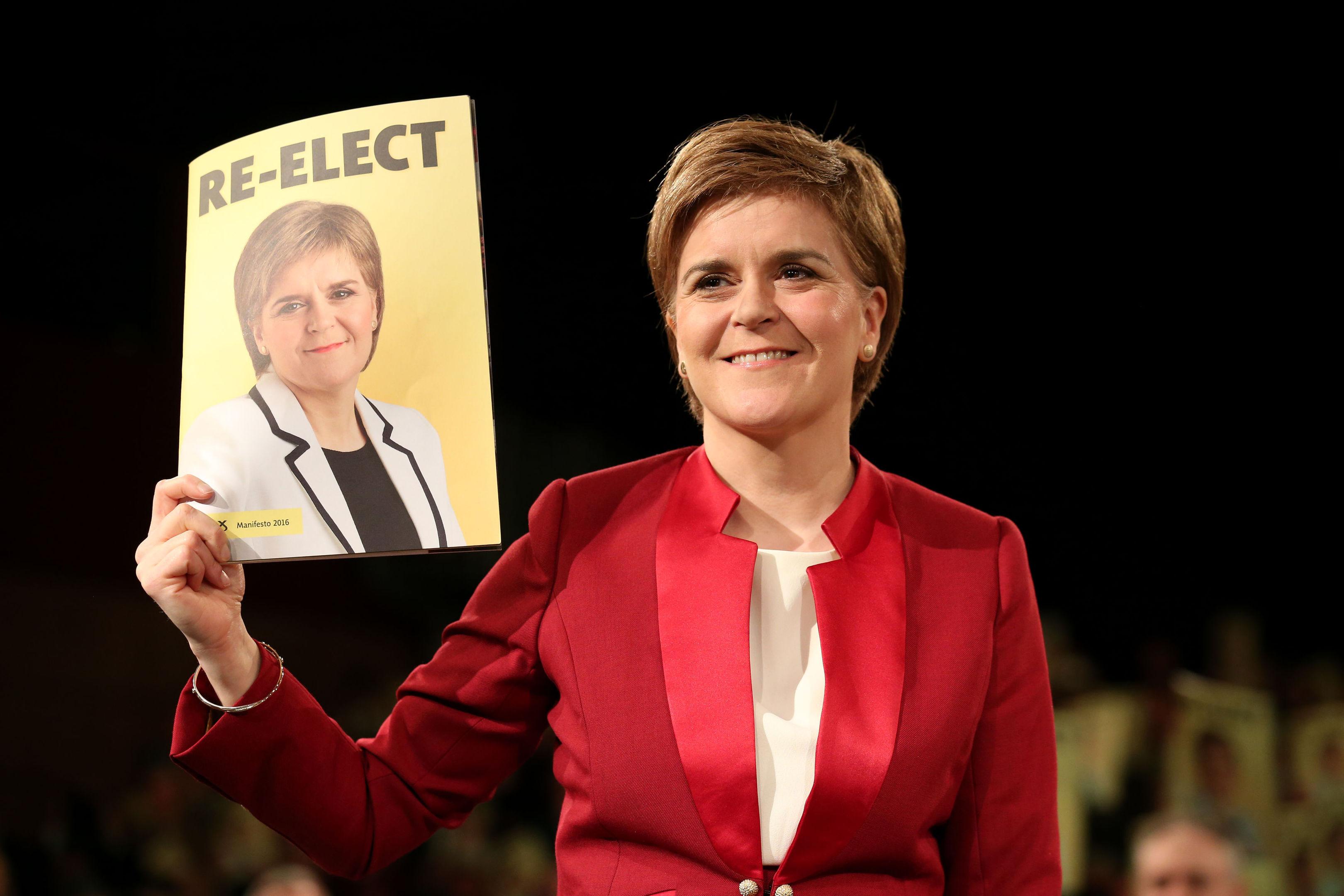 SNP leader Nicola Sturgeon launches the party's Scottish Parliament election manifesto at the Edinburgh International Conference Centre.