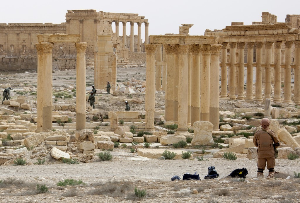 Combat engineers of the Russian Armed Forces' International Mine Action Center clearing mines from the ancient town of Palmyra.
