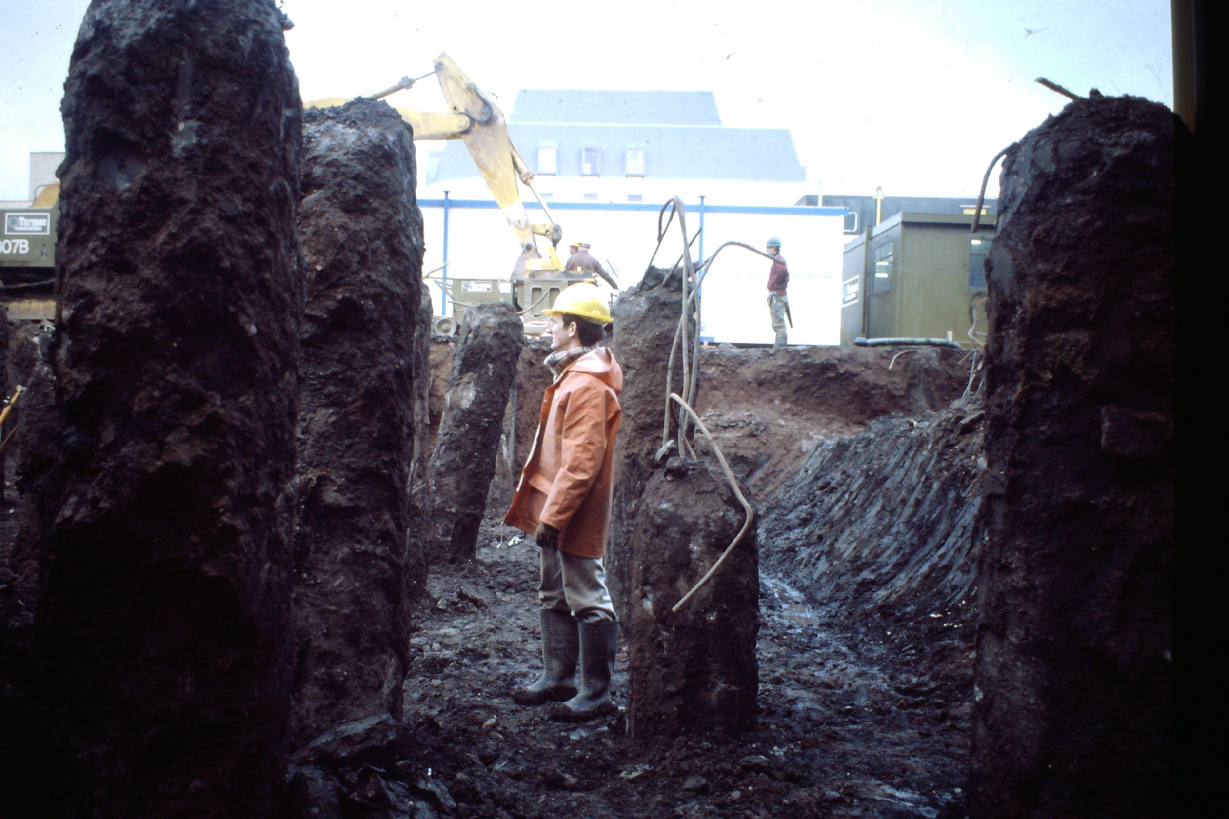 An archaeologist surveys the dig at the St John's Shopping Centre site