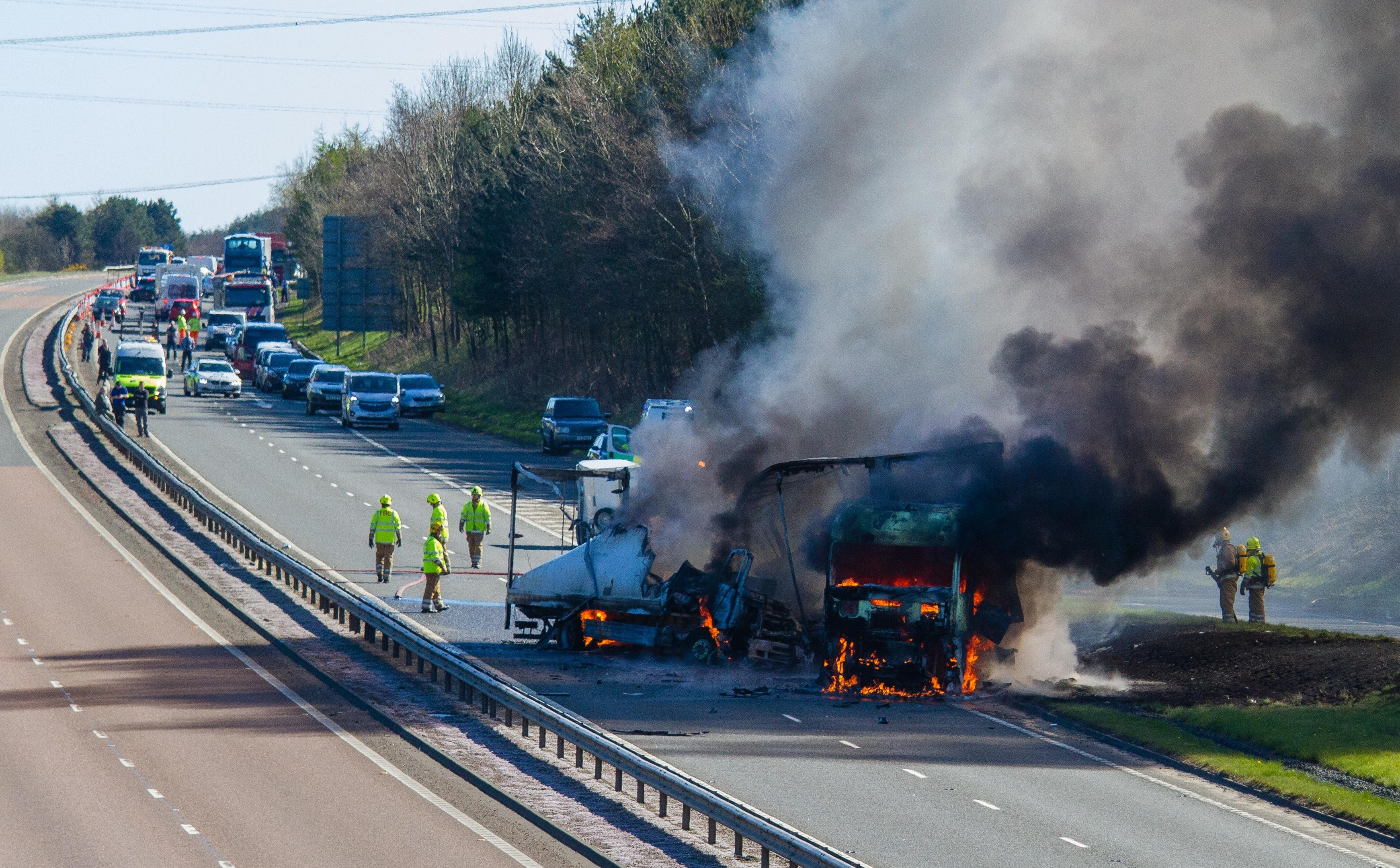 Two lorries caught fire.