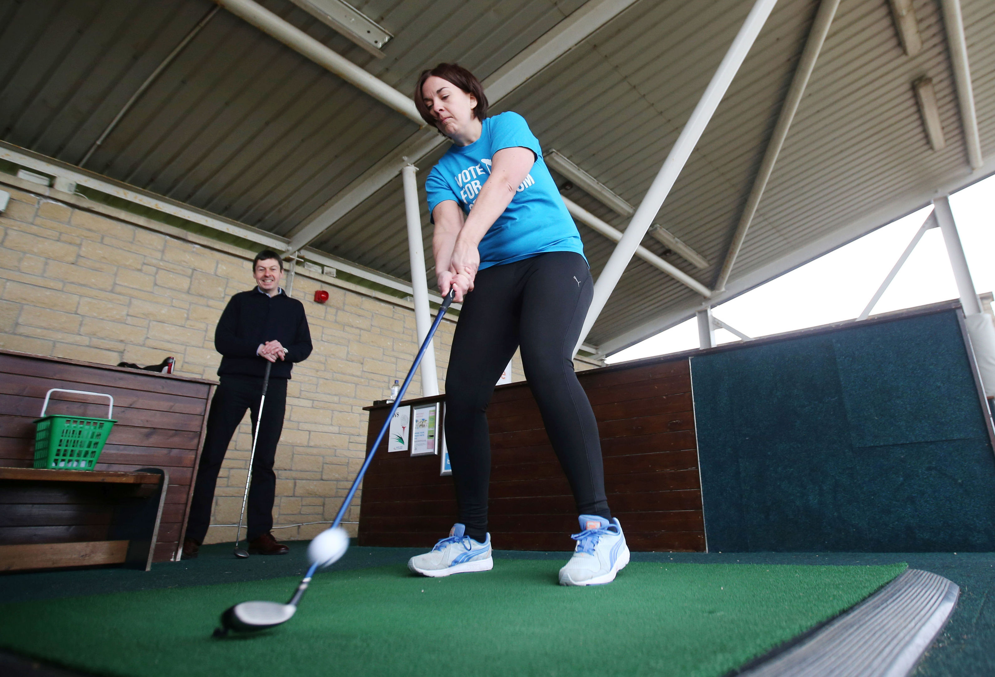 Scottish Labour leader Kezia Dugdale and Eastwood candidate Ken Macintosh at the driving range at Mearns Castle Golf Academy.