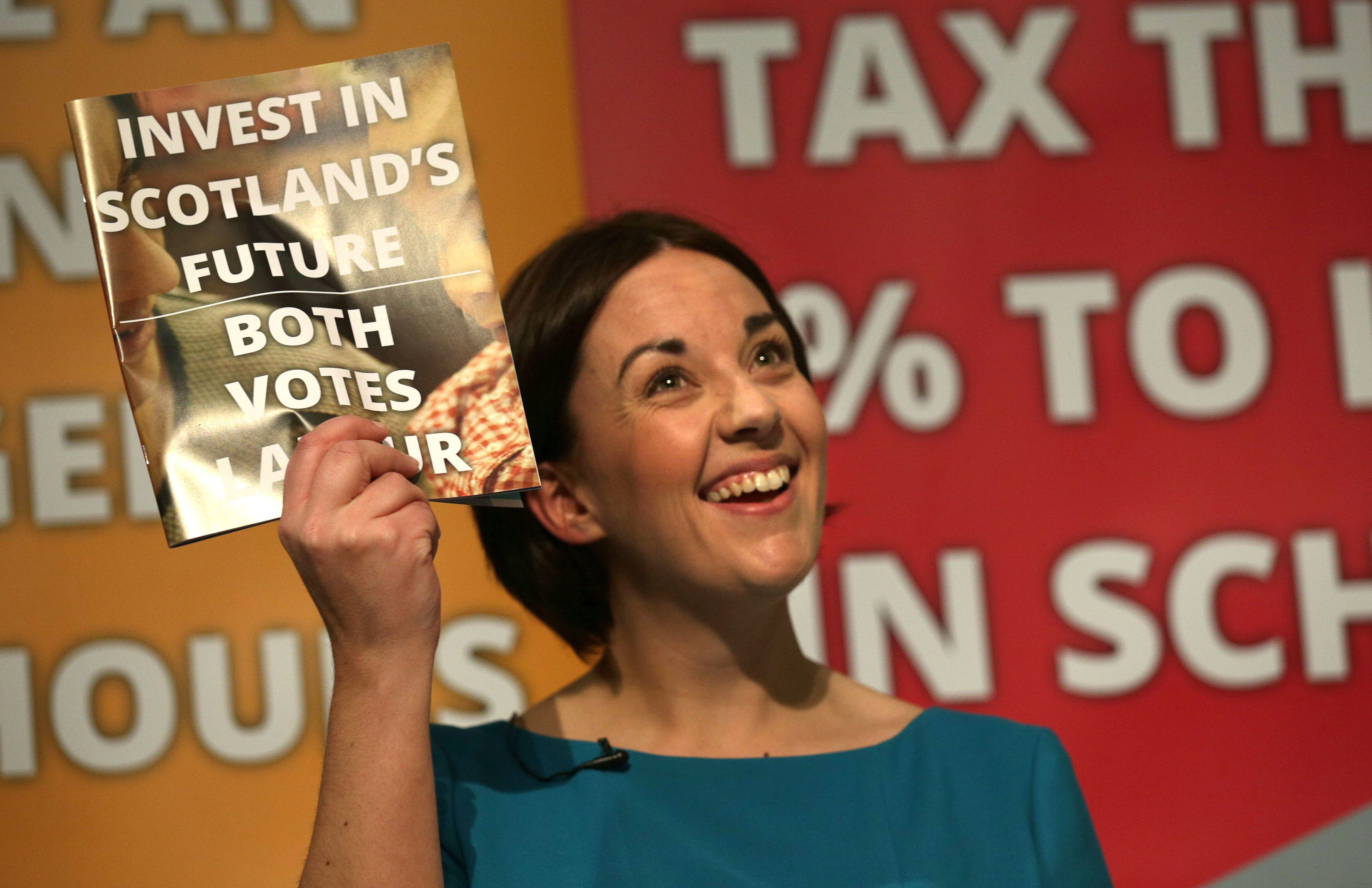 Scottish Labour leader Kezia Dugdale launches her party's manifesto at the Grassmarket Community Project in Edinburgh.