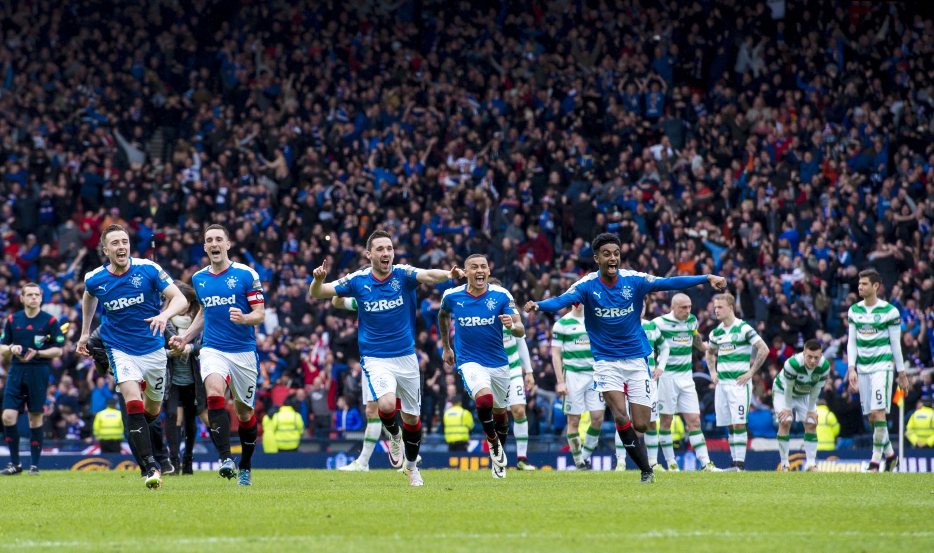 Rangers celebrate the winning moment.