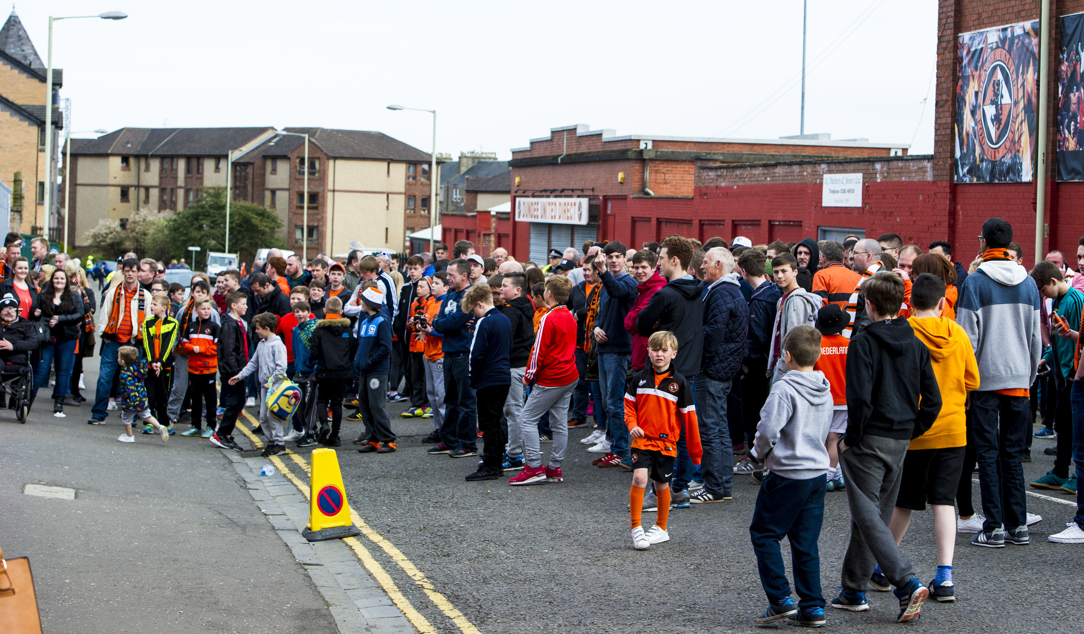 Dundee United fans protesting outside Tannadice on Sunday.