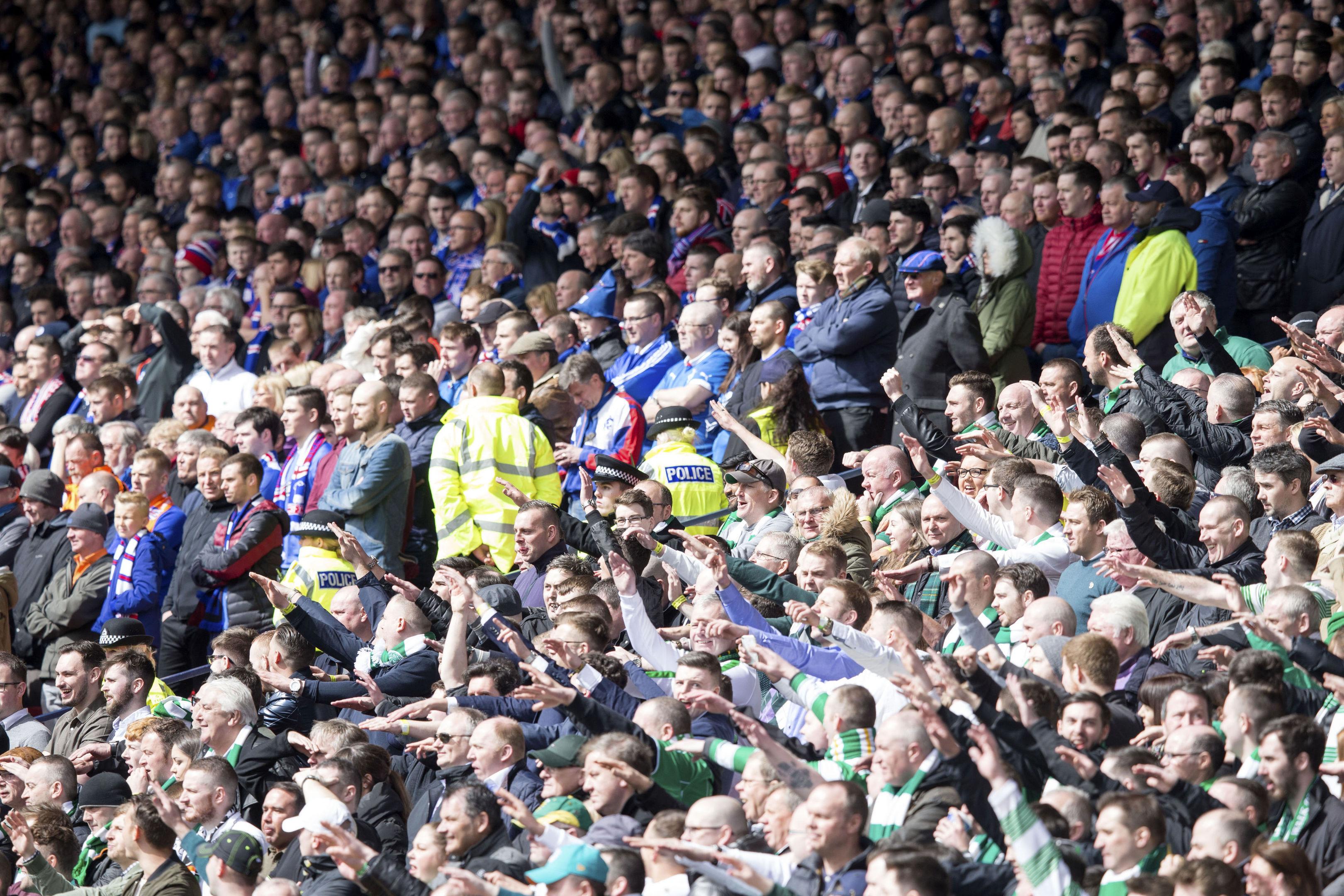 Opposing Old Firm fans at Hampden.