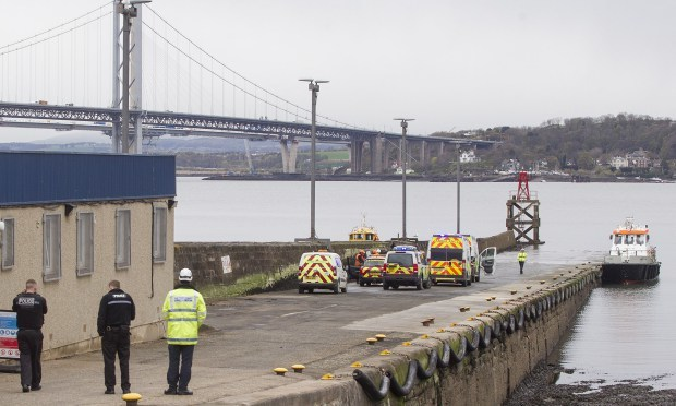 Emergency services at the pier in South Queensferry after Thursday's accident