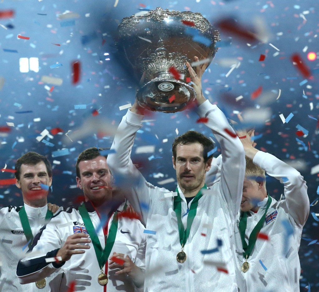 Andy Murray lifts the trophy after Great Britain won the Davis Cup Final in Belgium.