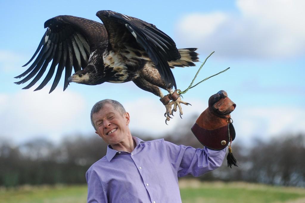 Willie Rennie pays a visit to Elite Falconry, Cluny, near Kirkcaldy,