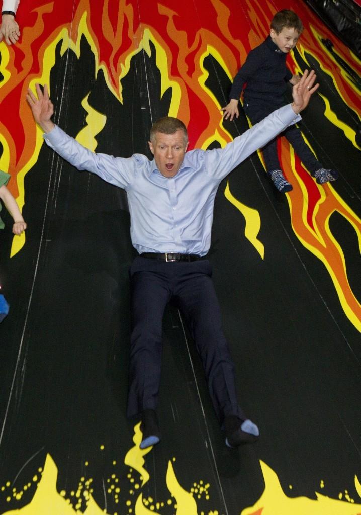 Willie Rennie launches his partys manifesto at Jungle Adventure soft play area in Edinburgh.