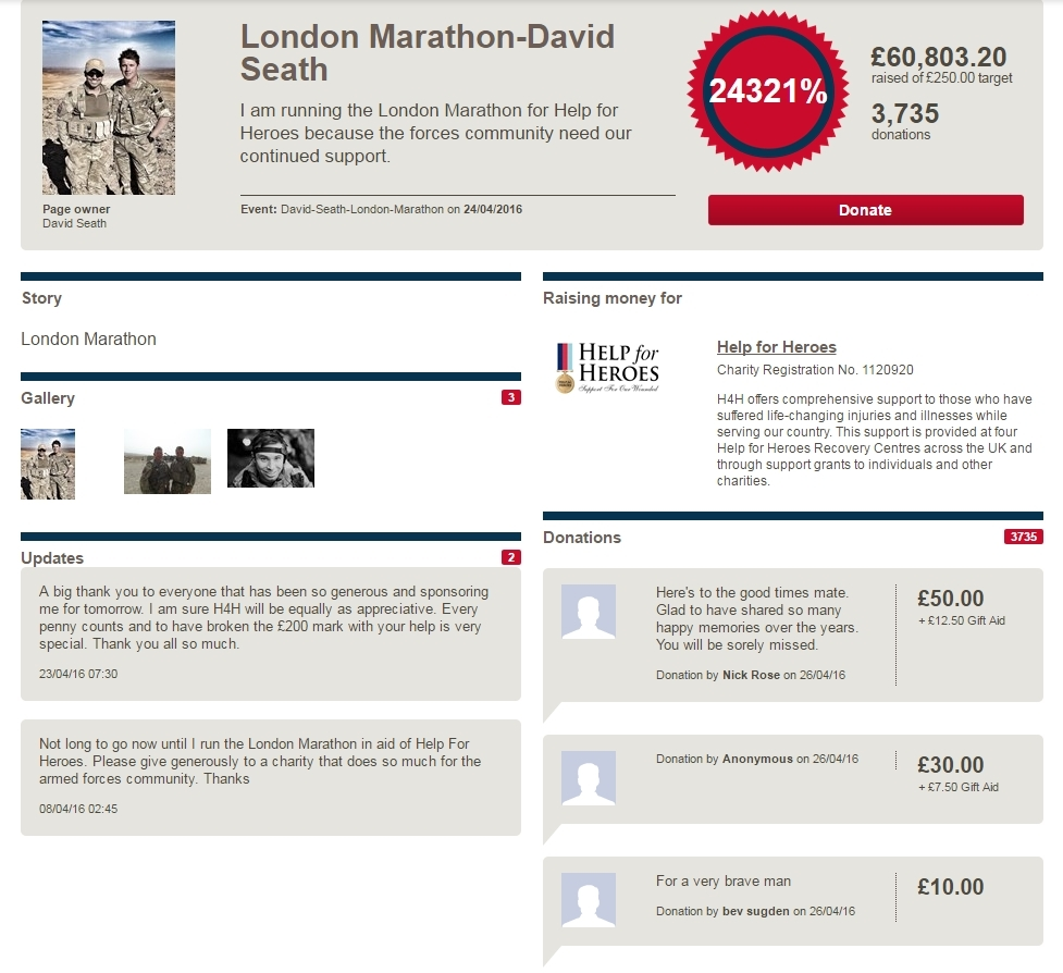 Captain David Seath's JustGiving page has attracted thousands of pounds of donations.