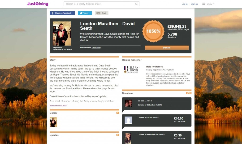 Thousands of pounds has been raised on a JustGiving page set up in his memory.