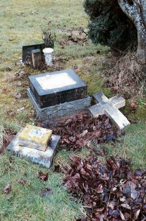 Undertakers found the headstone had been broken into three pieces.