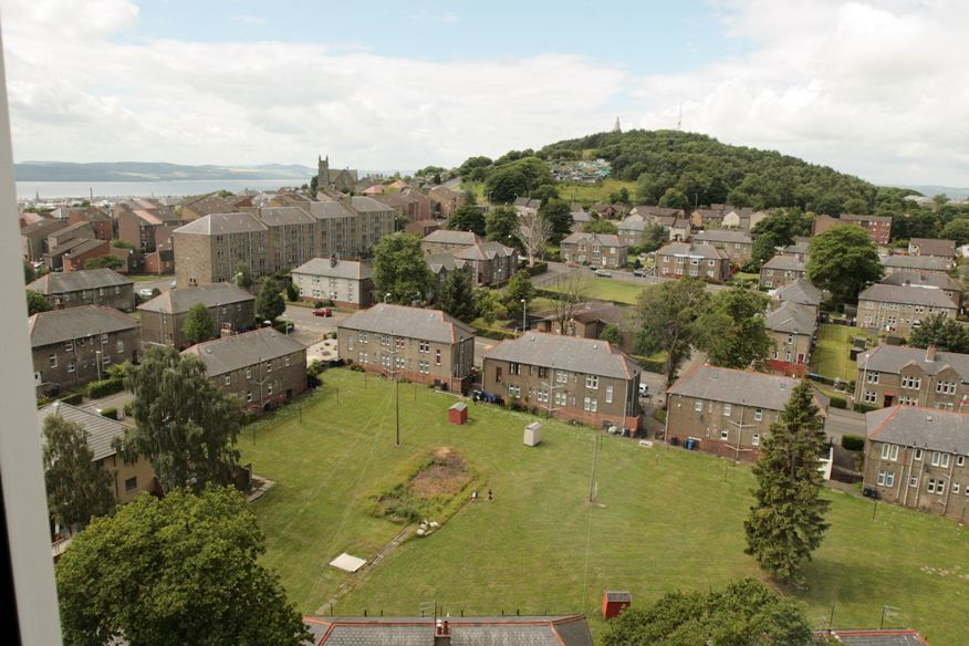 A view from the seventh floor of Butterburn Court (Derby Street multis), Hilltown, Dundee.