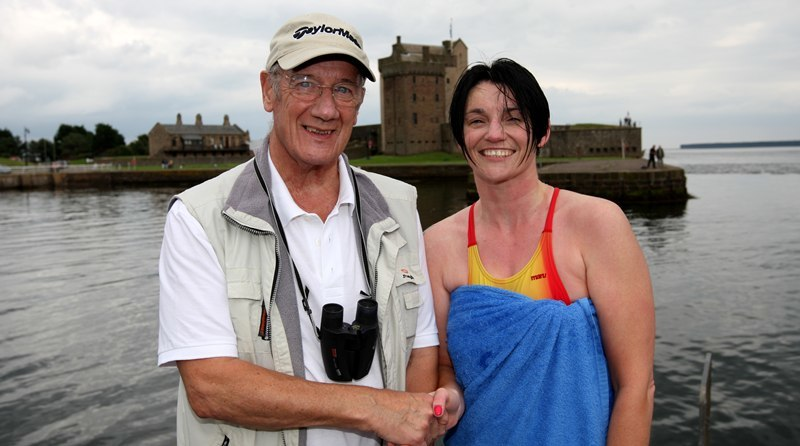 Steve MacDougall, Courier, Broughty Ferry Harbour. Double Tay swim record holder returning after 50 years to see moder day Phibbies challenge the record. Pictured, left is Bob Sreenan and right is first swimmer back, Vicky Taylor (from Forfar Falcons).