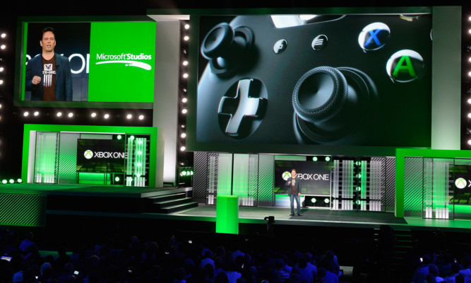 Phil Spencer, vice-president of Microsoft Game Studios, speaks during Monday's E3 presentation.