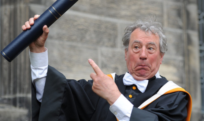 Terry Jones with his honorary degree.