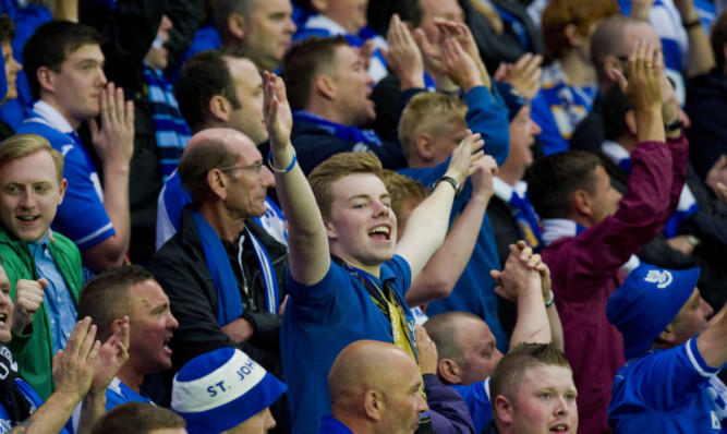 St Johnstone fans celebrate on a famous night for the club.