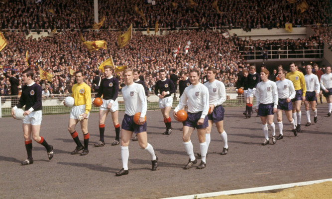 The teams walk out ahead of the famous 1967 clash at Wembley.