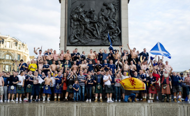 Tartan Army foot soldiers have descended on London as Scotland take on England at Wembley.