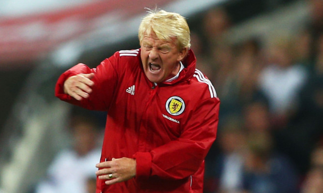 Gordon Strachan barking out instructions during Wednesday's match.