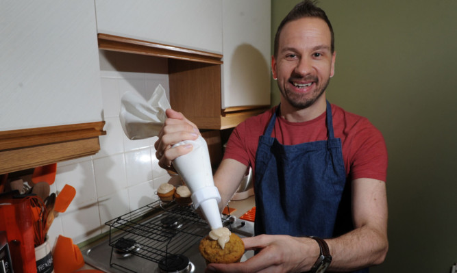 Stuart Vettese at home in Arbroath with some of his baking.