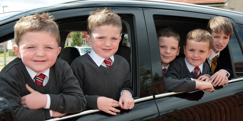 Kim Cessford, Courier 15.08.11 - ready for school are five of the seven children in the Tolan family from 7 Challum Place, Panmurefield Vaillage - pictured are l to r - twins Kyle and Saul, Matthew, Jamie and Paul