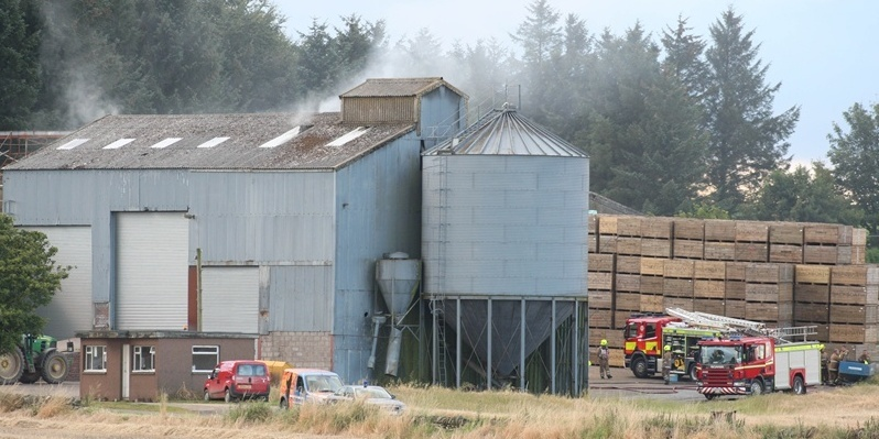Steve MacDougall, Courier, Slade Farm, Carmyllie. Fire on farm. Pictured, Arbroath Fire Crews at the scene (Abroath took over from the first responders from Carnoustie).
