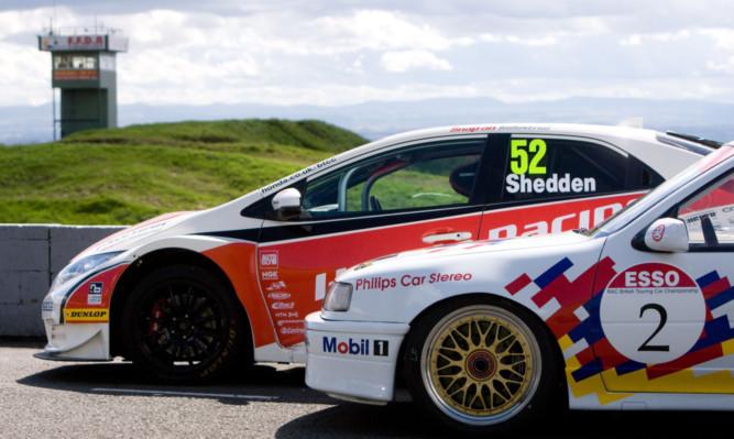 Championship contender Gordon Sheddens Honda alongside ex-champion and fellow Scotsman John Clelands championship-winning Cavalier at the Knockhill circuit.