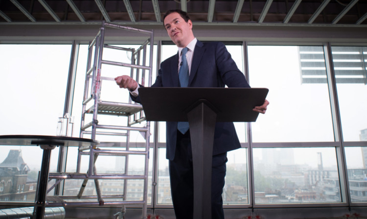 Chancellor of the Exchequer George Osborne makes a speech on the present state of the UK economy at a construction site' in east London.
