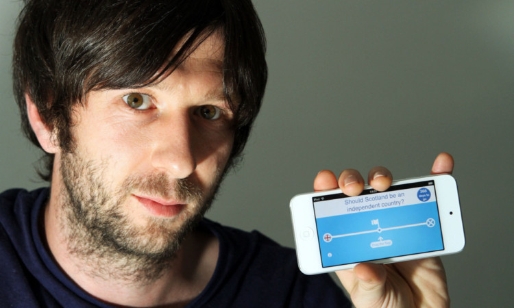 Michael Romilly displays his firm's new app.