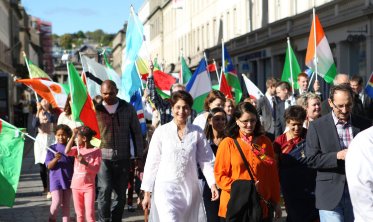 Dundee city centre was a riot of colour as the flags of every nation were paraded in the City Square.