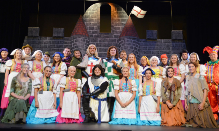The cast of Spamalot before the premiere at the Whitehall Theatre.