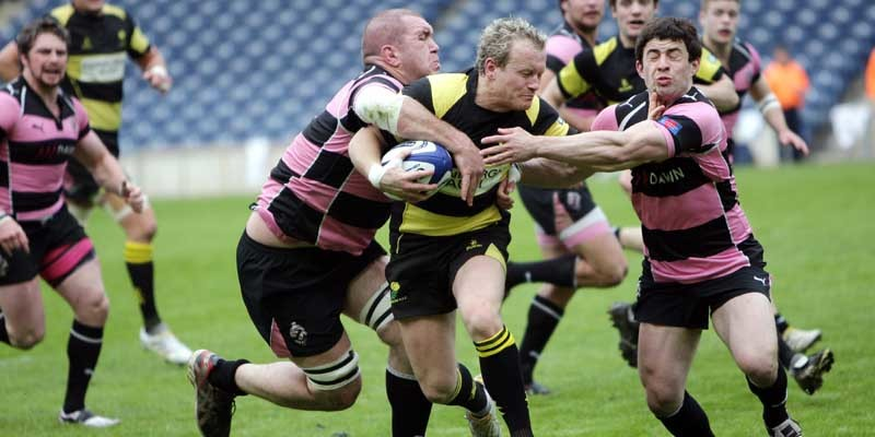 Rugby, The Scottish Hydro Premier Cup Final, Melrose v Ayr.      James King on the ball