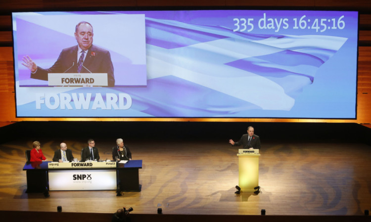 First Minister Alex Salmond addresses the SNP annual conference at Perth Concert Hall.