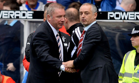 Rangers boss Ally McCoist shakes hands with his Brechin counterpart Ray McKinnon at Ibrox the last time the sides met.