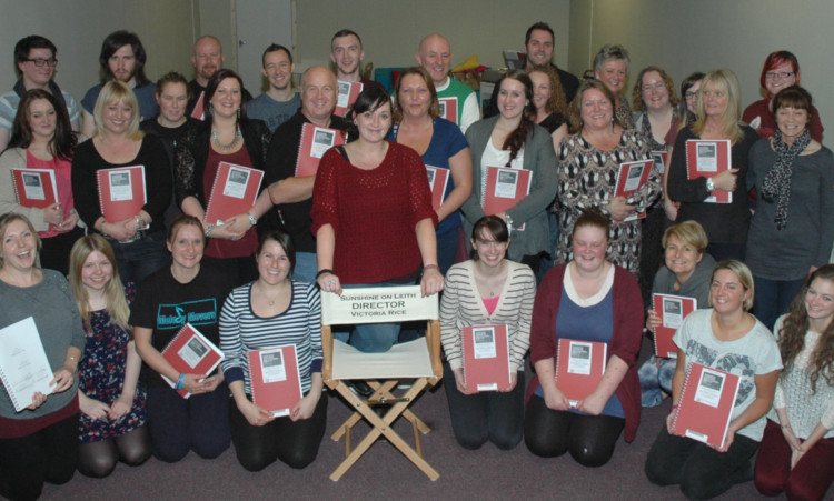 Some of the cast and crew in rehearsals.
