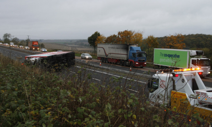 The toppled lorry completely closed the southbound carriageway.