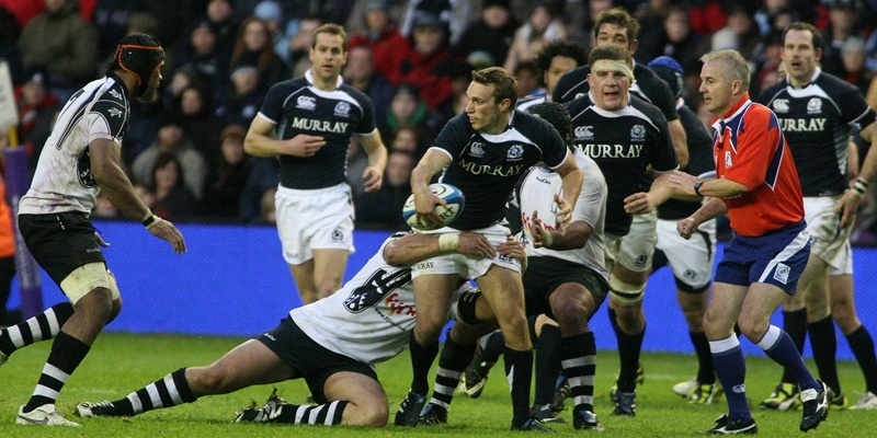 Rugby, Scotland v Fiji.     Mike Blair on the attack