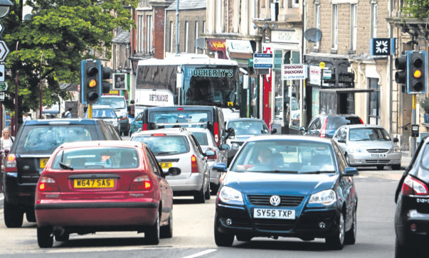 Traffic congestion in the heart of Crieff.