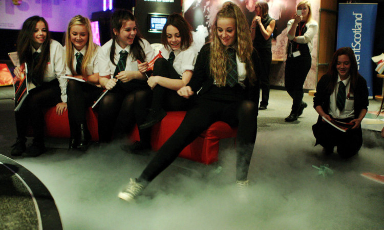 St Paul's pupils as they have fun with liquid nitrogen during a chemistry demonstration at Dundee Science Centre.