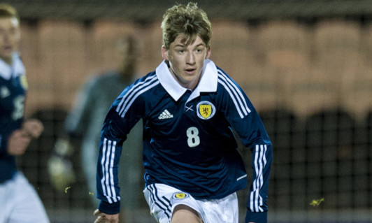 Ryan Gauld making his debut for the Scotland U21s.