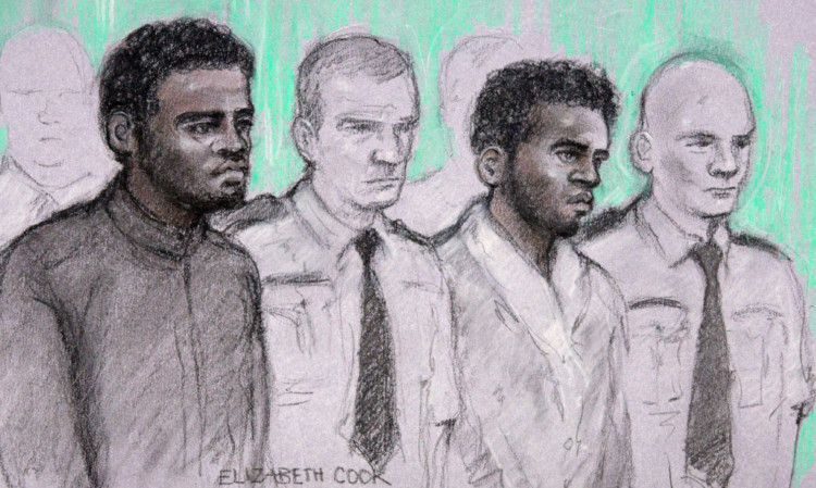 A court artist sketch of the two men accused of the murder of soldier Drummer Lee Rigby.