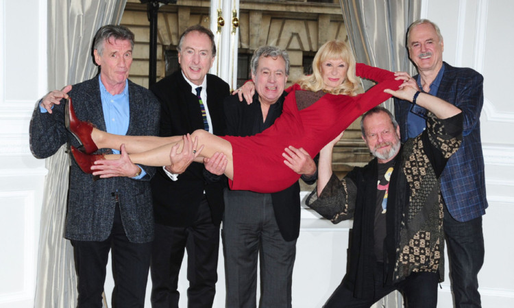 Michael Palin, Eric Idle, Terry Jones, Carol Cleveland, who performed with the Pythons, Terry Gilliam and John Cleese announce their new plans for Monty Python at the Corinthia Hotel in London