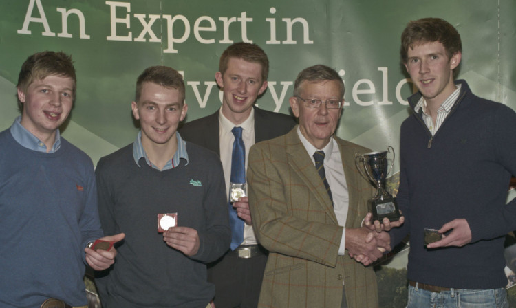 At the challenge cup presentation at AgriScot: Daniel Fleming, James McKerrow, Alistair McBain, John Rhind and Hamish Knottenbelt.