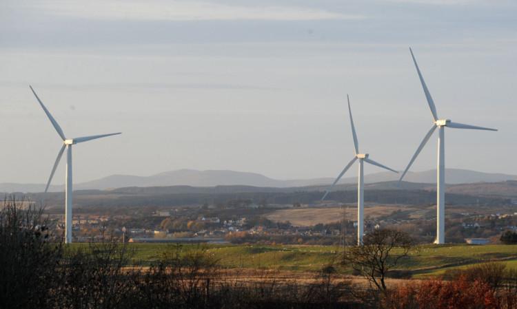 Three of the existing Little Raith windfarm turbines.