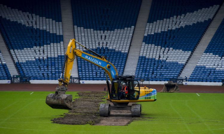 Work begins in Hampden ahead of the Glasgow 2014 Commonwealth Games.