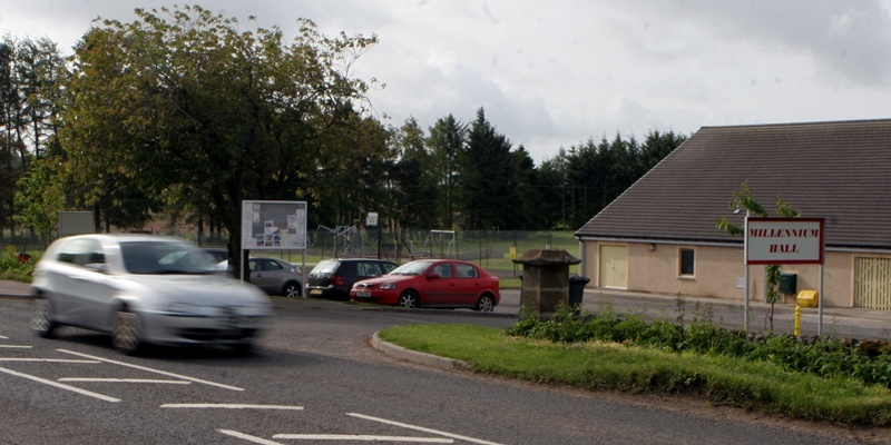 Birkhill Dundee main road at ther hall and park divided from the village by the busy road