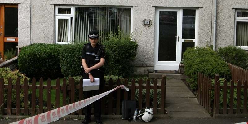 DOUGIE NICOLSON, COURIER, 29/08/11, NEWS. Pic shows the scene of the fatal fire in Husband Place, Dunfermline today, Monday 29th August 2011. Story by Leeza.
