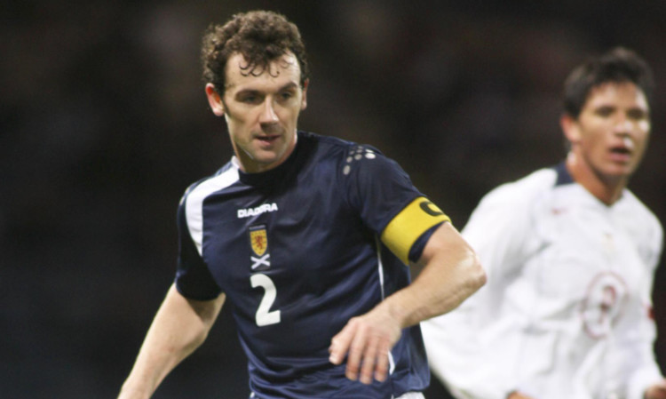 Christian Dailly in action for Scotland at Hampden.