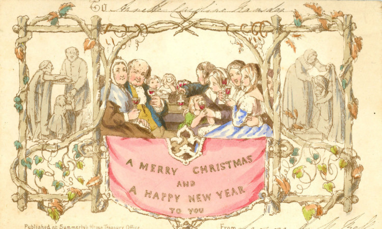 World's first commercially produced Christmas card, designed by John Calcott Horsley RA upon request by Sir Henry Cole.